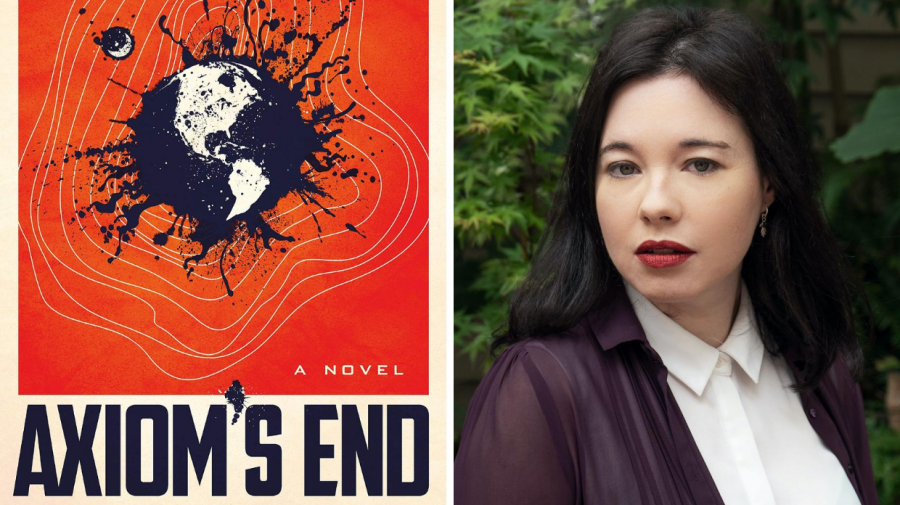 Cover art for Axiom's End (left) and Lindsay Ellis (right)