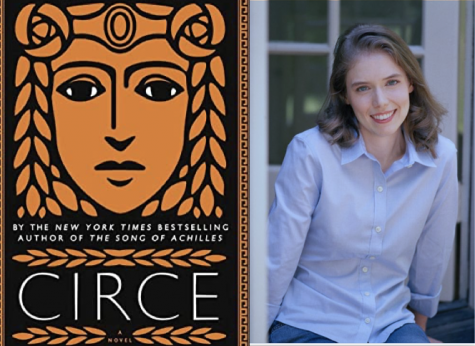 The cover of Circe next to a picture of Madeline Miller.